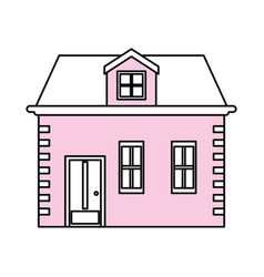 Color silhouette image facade house with two vector