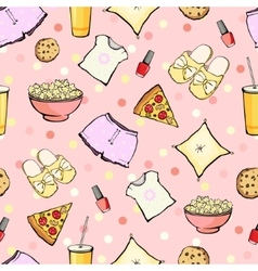 Cute sleepover party food objects seamless vector