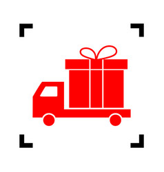 Delivery gift sign red icon inside black vector
