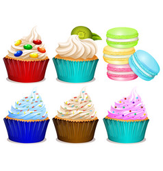Different flavor of cupcakes vector