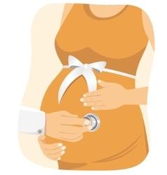 Doctor examining a pregnant woman vector