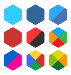 Flat blank rounded hexagon icon set web button vector