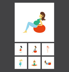 flat icon pregnant set of mother pregnancy vector image vector image