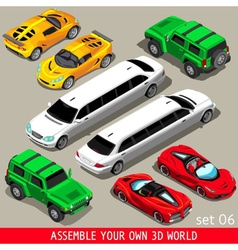 Flat limousine vehicle isometric vector