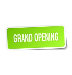 Grand opening green square sticker on white vector