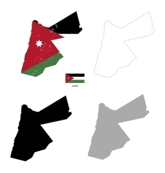Jordan country black silhouette and with flag on vector image