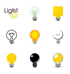Lightbulb logotype icons set cartoon style vector