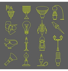 Lighting elements icon set thin line design vector
