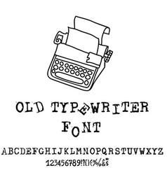 Old typewriter font vintage grunge font vector