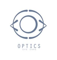Optics eye care logo symbol hand drawn vector