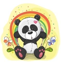 Panda with rainbow vector