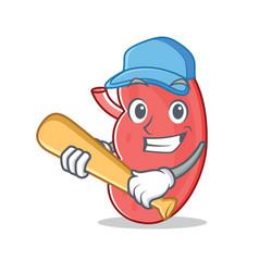 Playing baseball kidney character cartoon style vector