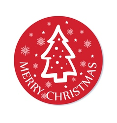 Round christmas greeting with christmas tree vector