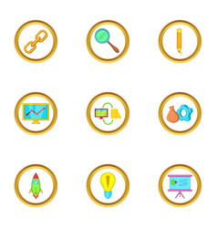 Startup icons set cartoon style vector