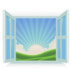 summer landscape outside the window vector image