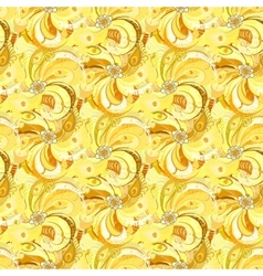 Yellow peacock feathers seamless pattern vector
