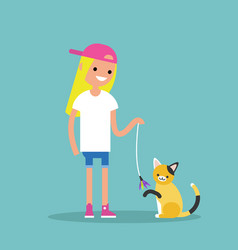 young female character playing with a cat flat vector image vector image