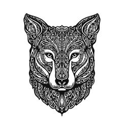 Ethnic ornamented fox or dog vector