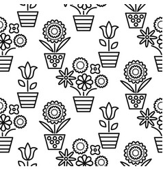 Black and white line flower pots seamless vector