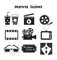Set of movie icons vector