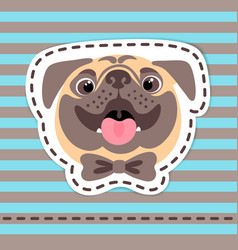 Fashion patch badges happy pug in bow tie on vector