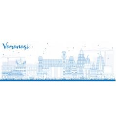 Outline varanasi skyline with blue buildings vector