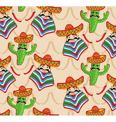 Mexican pattern with cactus hat and chill over bac vector