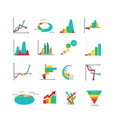 Set of business marketing dot bar pie charts vector