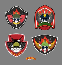 Set military and armed labels logo skull vector