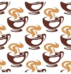 Steaming coffee cups or chocolate seamless pattern vector