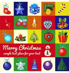 Big set of christmas tree toys vector