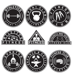 Set of various fitness labels and design elements vector