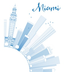 Outline miami skyline with blue buildings vector