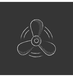 Boat propeller drawn in chalk icon vector
