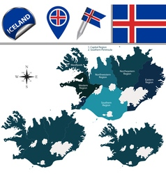 Iceland map with named divisions vector