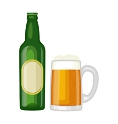 Beer glass bottle vector