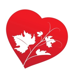 Grape leaves inside heart frame vector