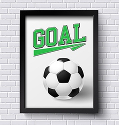 Abstract soccer poster Image frame on white brick vector image vector image