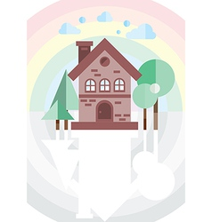Brick house on a background of the rainbow vector