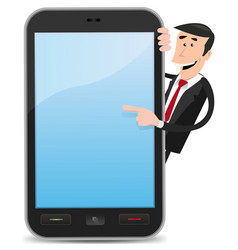 Cartoon man pointing smartphone vector