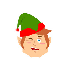 Christmas elf winks emoji santa helper emotion vector