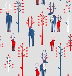 Deer antlered and fantasy trees vector image