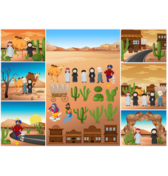 Desert scenes with people and buildings vector