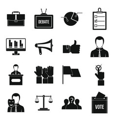 Election voting icons set simple style vector