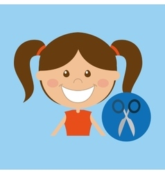 Happy girl student school scissors icon vector