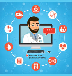 healthcare service online medical consultation vector image vector image