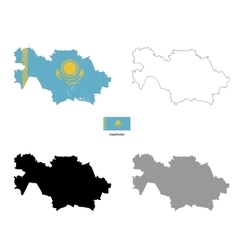 Kazakhstan country black silhouette and with flag vector