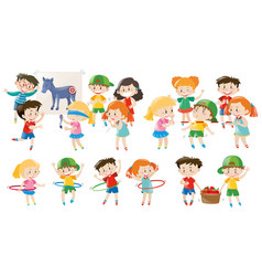 Kids playing different games vector