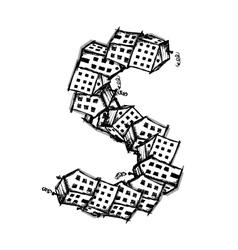 Letter s made from houses alphabet design vector