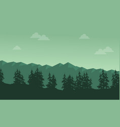 Mountain with spruce scenery silhouettes vector